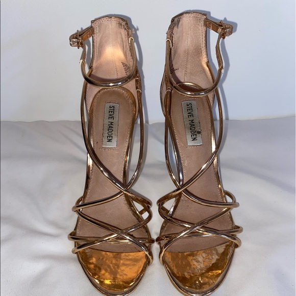 Steve Madden rose gold thin strapped high heels